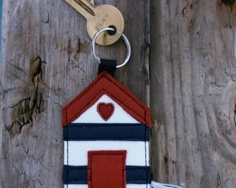 Beach hut nautical holiday recycled leather keyring keychain.... UK FREE SHIPPING