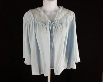 Vintage blue nylon bed jacket Lorraine size medium chest 36 38