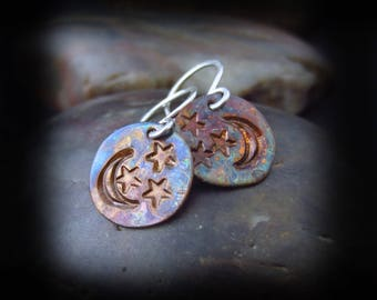 Copper Patina Moon and Stars Earrings - Hammered Copper - Hand Stamped Copper - Flame Patina Copper and Sterling Silver - Moon and Stars