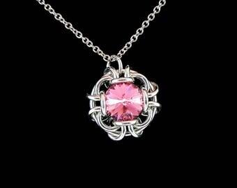 Rose Pink Swarovski Crystal Pendant Necklace