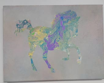 Cantering Horse, Poured Painting, abstract horse, horse artwork,
