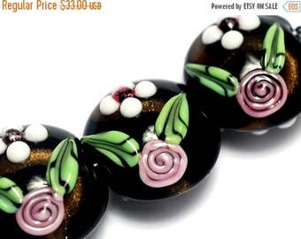 ON SALE 30% off Four Black w/White & Pink Flower Lentil Beads - Handmade Glass Lampwork Bead Sets 10107522