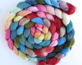 Merino/ Silk Roving (Top) - Hand Painted Spinning or Felting Fiber, Early Blooming