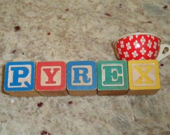 """Fun Vintage Pyrex Blocks Teacup Display 6 1/2"""""""