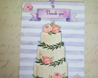 WEDDING THANK YoU TaGs - Set of 12 Thank you tags - Wedding Cakes - Choice of colors - Pastels, Watercolor, elegant - sweet - WTBAL 5656