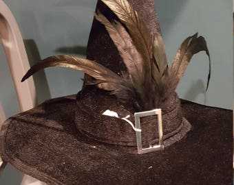 Buckled Black Witches Hat