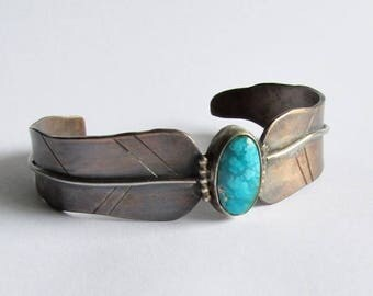 Bronze Feather Cuff with Arizona Turquoise - 19th Anniversary Gift - Bohemian Style Jewelry - Birthday Gift
