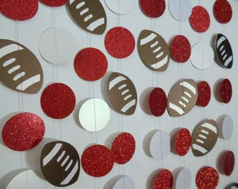 Football Party Decoration, Paper Garland with your School Colors,9' Football Banner, Sports Decoration