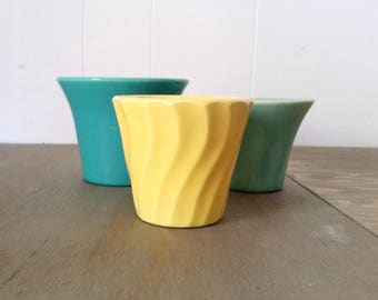 Three Vintage Colorful Flower Pots or Herb Pots Turquoise, Aqua and Yellow