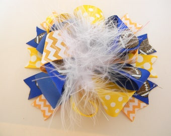 football Hair Bows-Ott Hair Bow-Blue Yellow Football hair bow