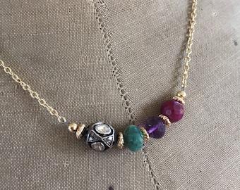 Acrostic DEAR Necklace Gemstone Bar Necklace Victorian meets Modern