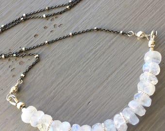 Moonstone Bar Necklace Boho Chic Gemstone Bar Necklace