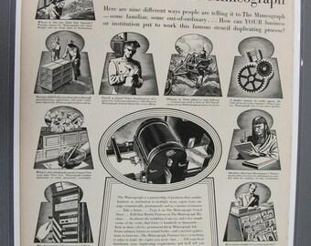 """Off  106    """"  Mimeograph    """"  Ad -  April  1939"""