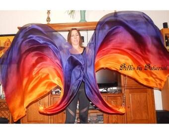 Sahariah's Silk Belly Dance Veil Killer Tornado Poi Voi Set 2 Poi Veils and Set of Poi Chains Flow Art Silks by Sahariah Happy Autumn SALE