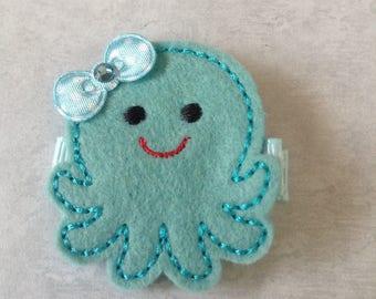 Felt Aqua Blue Octopus Hair Clip, Toddlers Hair Clip, Summer Hair Clippie, Girls Hair Bow, Beach Hair Clip, Felties, Clippies (Item 16-524)