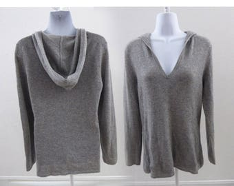100% Cashmere Sweater Size L Gray Hoody V Neck Fenn Wright Manson 40 Chest Tunic