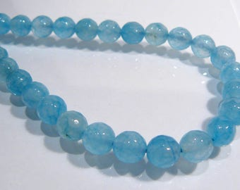Sky Blue Topaz Jade Faceted Round Gemstone Beads....8mm....8 Beads