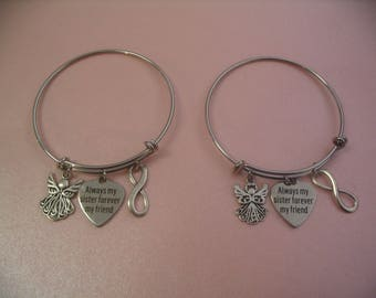 2 Angel Infinity Sisters Bangle Bracelets Always My Sister Forever My Friend Jewelry Gift