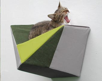 Wall bed geometric modern cat shelf in chartreuse, olive and greys
