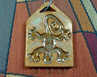 Handmade and Hand Finished Ceramic Stoneware Clay One of a Kind Reversible Pendant Jewelry Component, Totally Different Designs Each Side
