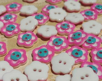 "Pink Flower Buttons - Dark Pink and White Flowers Teal Centers - Sewing Button - 11mm 1/2"" Wide"