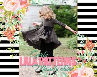LALA GIRLS Mandy Shirt PDF Sewing Pattern Digital Modest
