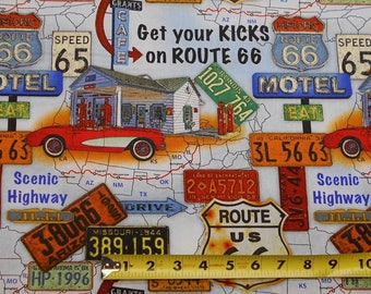 Route 66 American Dream Scenic Spots Cars on Maps BY YARDS Blank Cotton Fabric