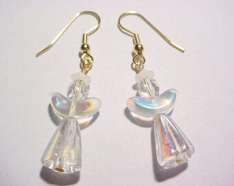 Crystal AB Grooved Cone Halo Angel Glass Bead Dangle Drop Earrings