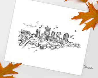 Fort Worth, Texas - United States - Instant Download Printable Art - City Skyline Series