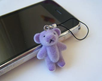 Phone charm - purple Teddy bear