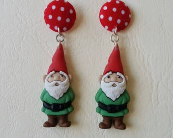Earrings ♥ circles with dots and Gnomes Green ♥