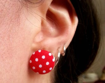 Round fabric earrings ♥ ♥ red polka dots ♥
