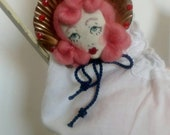 RESERVED - Hello Dolly!! Sea Shell Girls - Queen Scallop Shell Embroidered Doll Face Bow Brooch