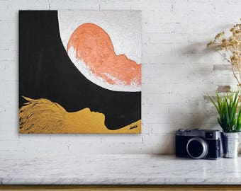 """ORIGINAL Oil Acrylic Visionary Painting Palette Knife Abstract Surreal Canvas Impasto Textured Gold Metallic 15.5"""" x 15.5"""" by Marianna Mills"""