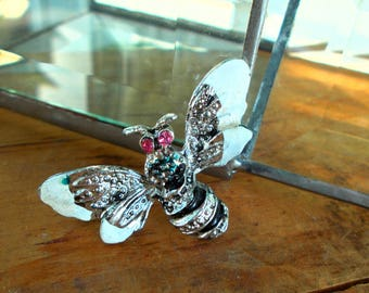 Vintage Black And Silvertone Flying Insect Brooch / Bee Flying Bug Pin  / Painted Moth
