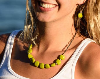 Yellow Green statement necklace and earring set