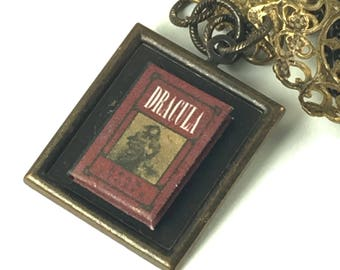 Dracula Bram Stoker Hidden Book Necklace Tiny Readable Book