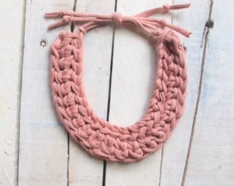 Pastel pink necklace, knitted necklace, crocheted necklace, tshirt yarn necklace, cotton necklace, bib necklace, braided necklace