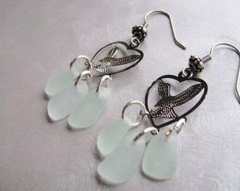 Eagle Sea Glass Earrings - Seafoam Sea Glass - Chandelier Earrings - Eagle Charm - Beach Glass Jewelry - Authentic Ocean Sea Glass Gifts