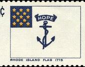 Five (5) vintage unused postage stamps - Rhode Island flag, 1775 // 6 cent stamps // Face value 0.30