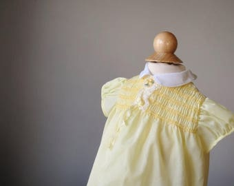 ANNIVERSARY SALE 1960s Smocked Yellow Dress, size 6 months