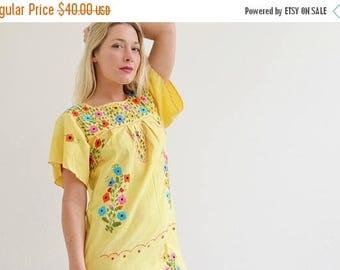 ANNIVERSARY SALE 1980s Sunny Mexican Oaxacan Dress /// Size Extra Small