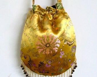 Yellow Satin Boho Bag with Beads Hippie Bag  Boho Bead Bag  Shoulder Bag Drawstring Bag