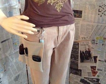 Hip Pocket/Waist Bag/Side Pocket Bag/Gardener's Gift/Gift for Her/Hip Purse/Hip Bag/Beige Side Bag/School Hip Bag/Basic Beige Hip Pocket 2