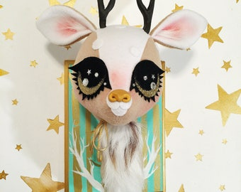 Golden Eyed Forest Stag Faux Taxidermy (aqua)