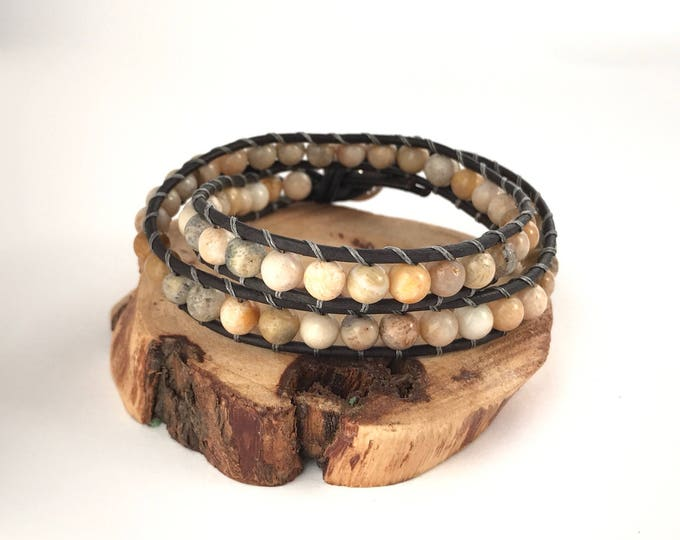 SALE men's wrap stone and leather bracelet