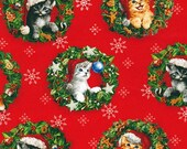 FABRIC CHRISTMAS PETS Cats in Wreaths by Robert Kaufman   We combine shipping