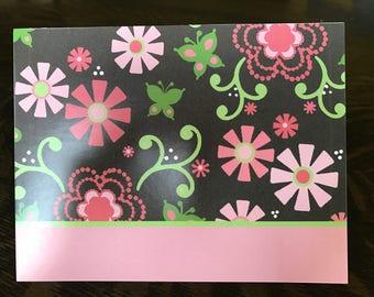 20 pink flower printed polka dot inside note cards stationary