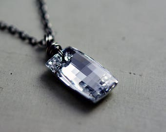 Crystal Necklace, Crystal Pendant, Swarovski Crystal, Pendant Necklace, Crystal Jewelry, Denim Blue, Pale Blue, Sterling Silver, PoleStar