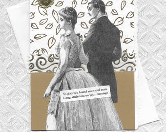 Elegant Gold & White Wedding Card - You've Found Your Soul Mate